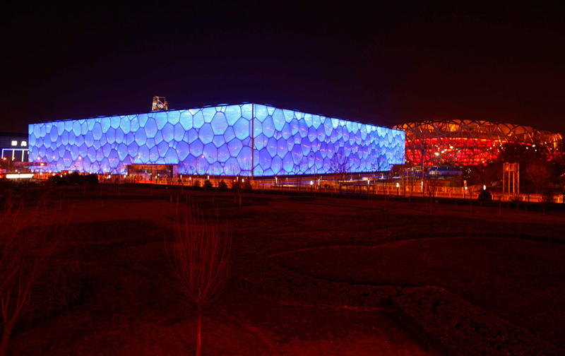 taxi to National stadium, water cube at night, car rental with english driver, cab